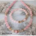 Комплект от розов кварц, турмалин и рутилов кварц