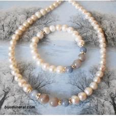 Комплект от перли, лунен камък и аквамарин