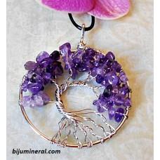 Медальон Дърво на живота-аметист