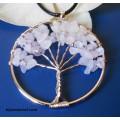 """Медальон """"Дървото на живота""""-розов кварц"""