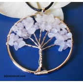 Медальон Дървото на живота-розов кварц