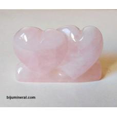 Двойка сърца от розов кварц