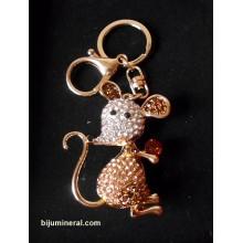 Мишка с кристален диамант – ключодържател от метал